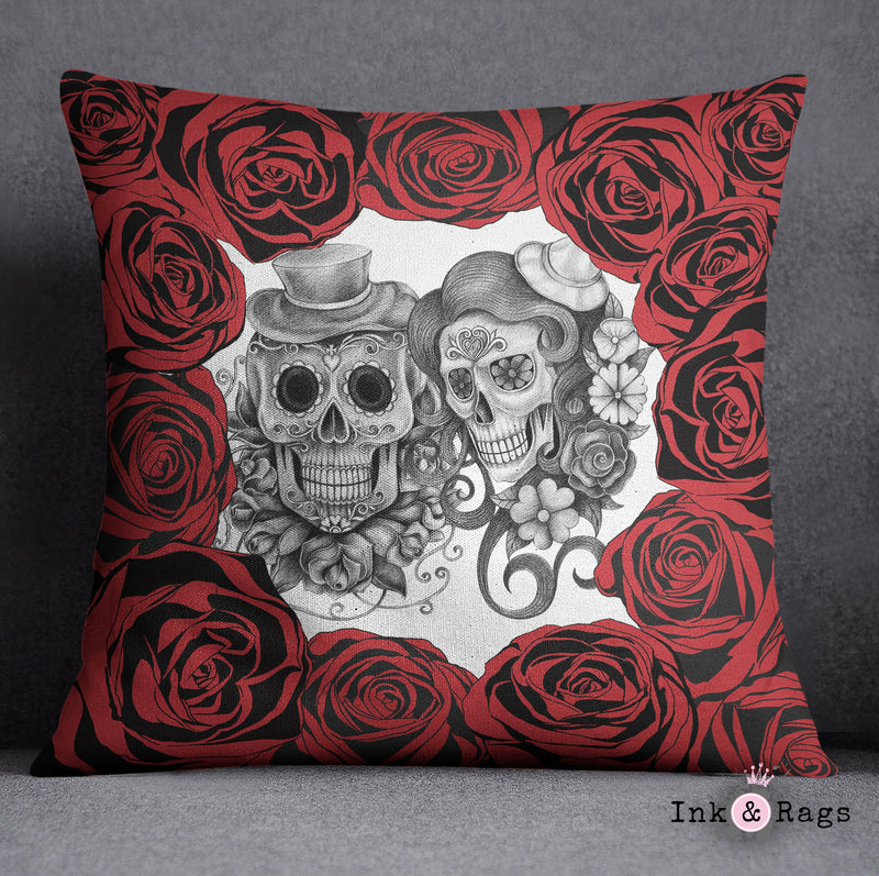 Red Rose Pencil Sketch Sugar Skull Decorative Throw Pillow
