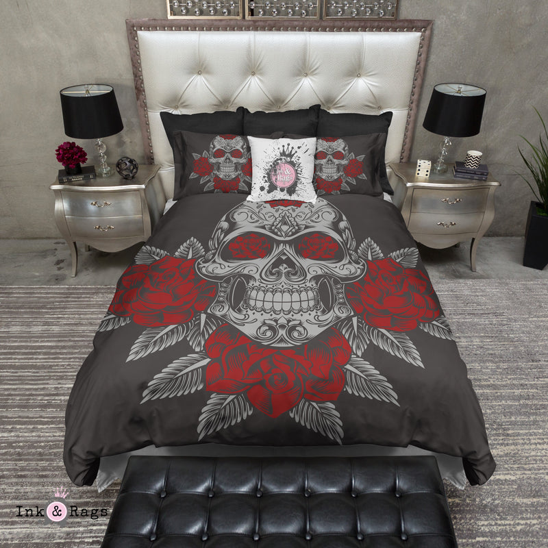 Grey Skull and Red Roses on Slate Bedding