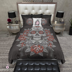 Grey Sugar Skull with Red Roses and Pistols Bedding