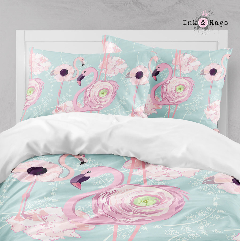 Pink Flower Flamingos on Blue Big Kids Bedding