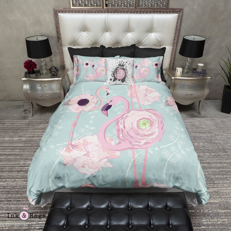 Pink Flower Flamingos on Blue Bedding
