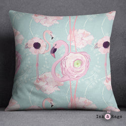Pink Flower Flamingos on Blue Decorative Throw Pillow Cover
