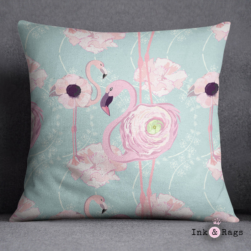Pink Flower Flamingos on Blue Decorative Throw Pillow