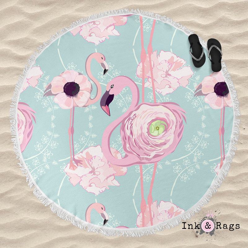 Pink Flower Flamingos on Blue Round Beach Towel