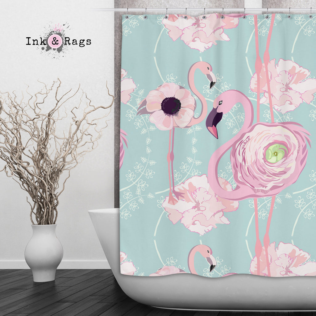 Pink Flower Flamingos on Blue Shower Curtains and Optional Bath Mats