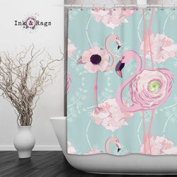 Pink Flower Flamingos On Blue Shower Curtains And Bath Mats