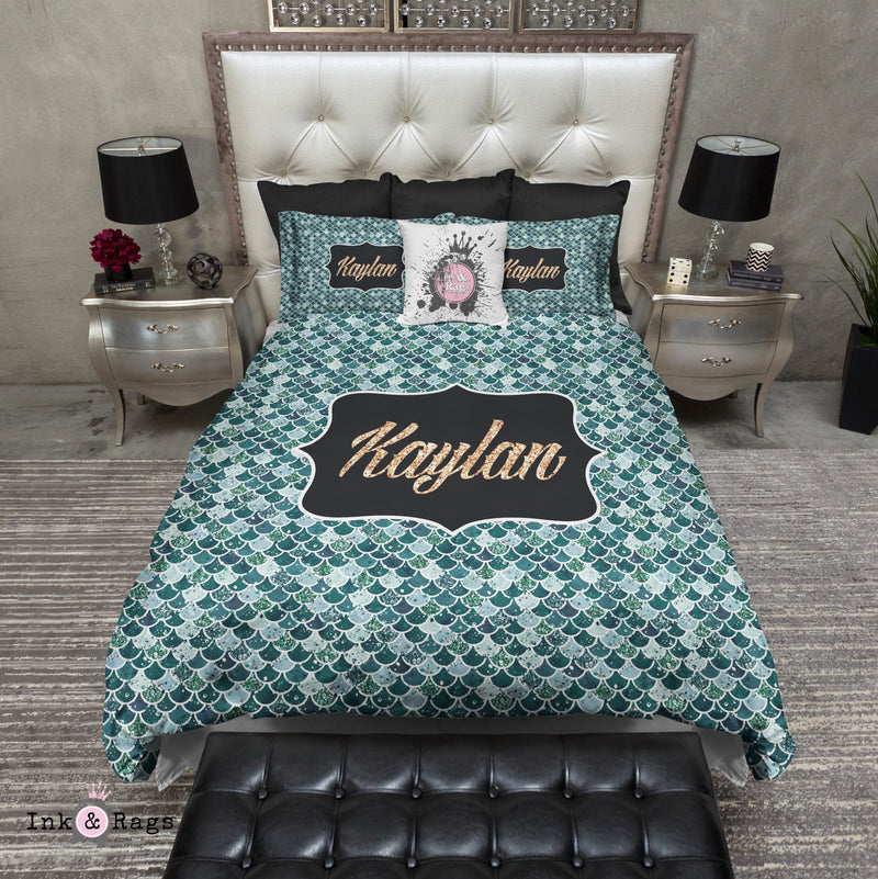 Personalized Emerald Mermaid Scales Fashion Bedding