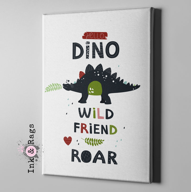 Hello Dino Wild Friends Dinosaur Gallery Wrapped Canvas