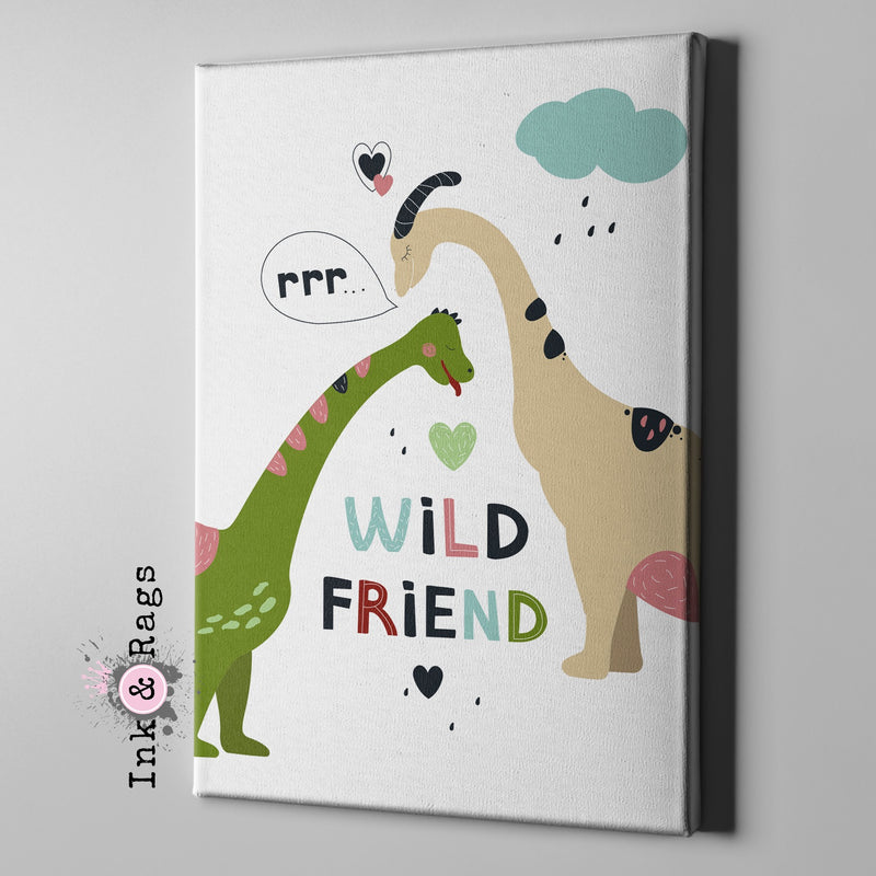 Wild Friends Dinosaur Gallery Wrapped Canvas