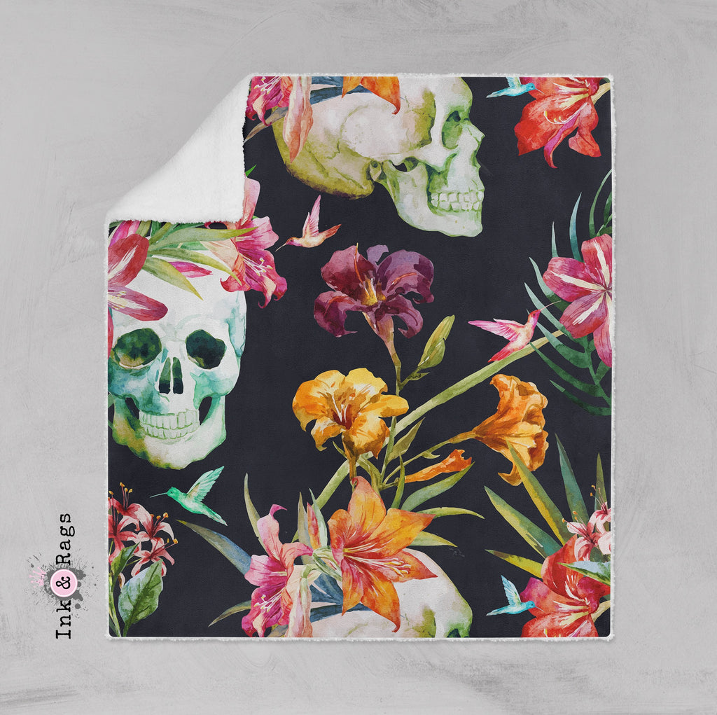 Tropical Lily Skull and Hummingbird Faux Sherpa Blankets