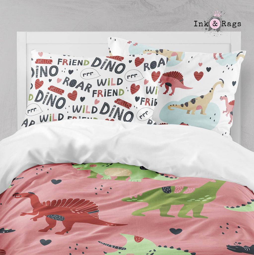 Wild Friends Pink Dinosaur Big Kids Bedding