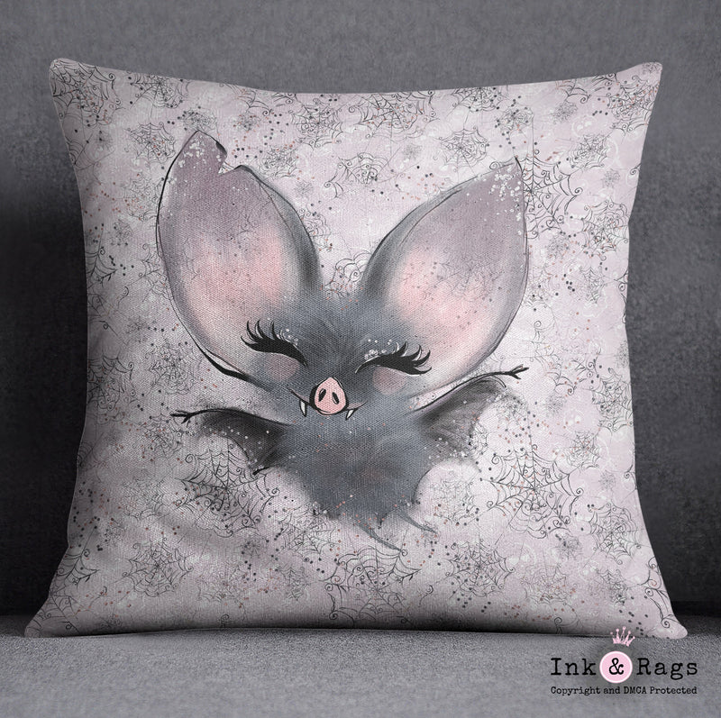 Little Bat and Spider Friends Bat Decorative Throw Pillow Cover