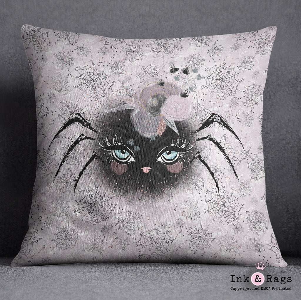 Little Bat and Spider Friends Spider Throw Pillow