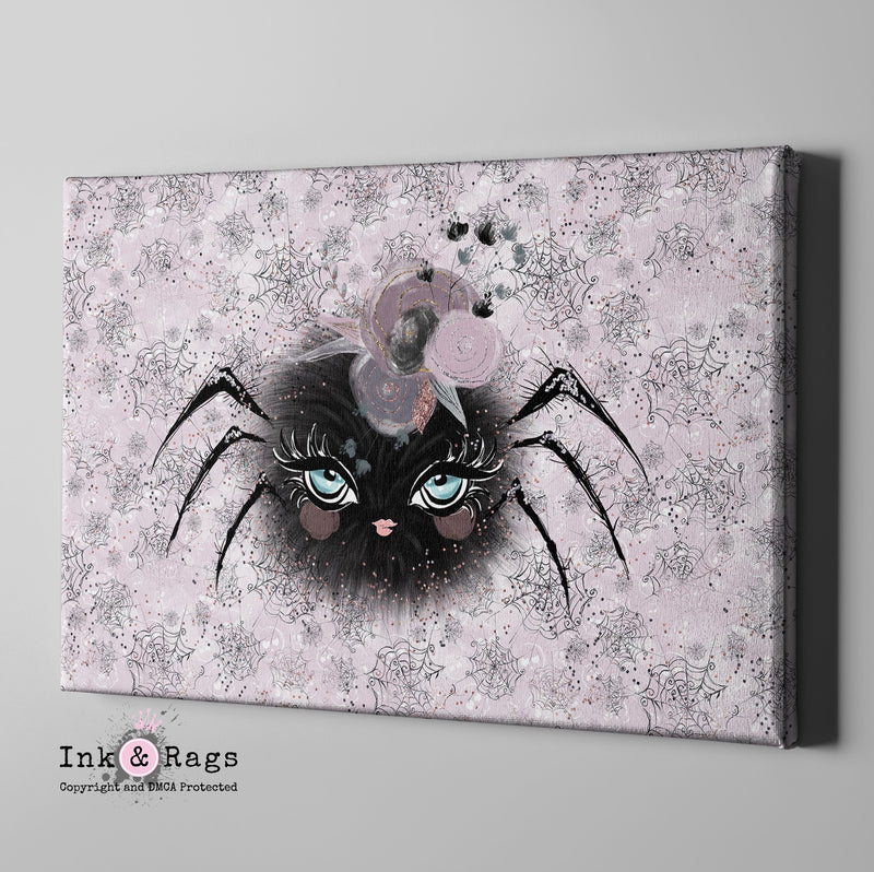 Little Bat and Spider Friends Spider Gallery Wrapped Canvas