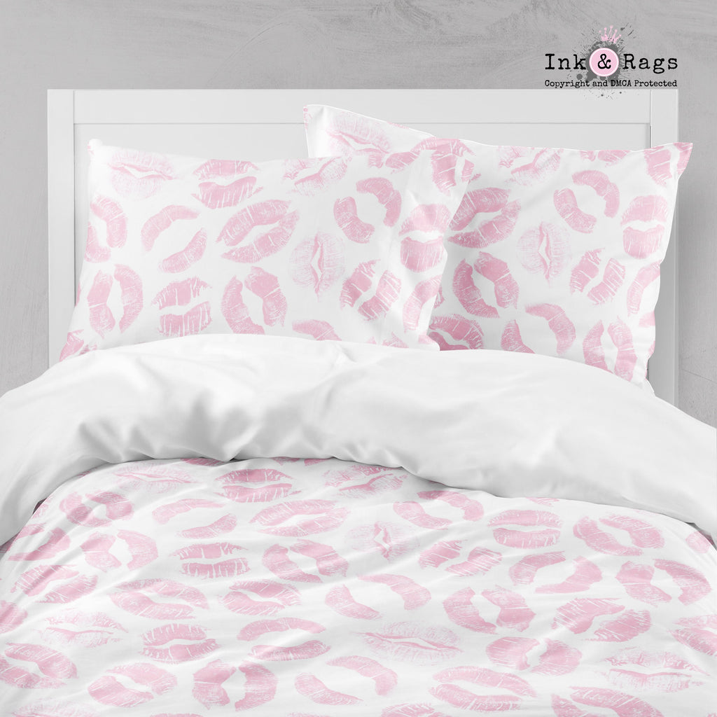 Pink Kiss Lip Print Crib and Toddler Bedding