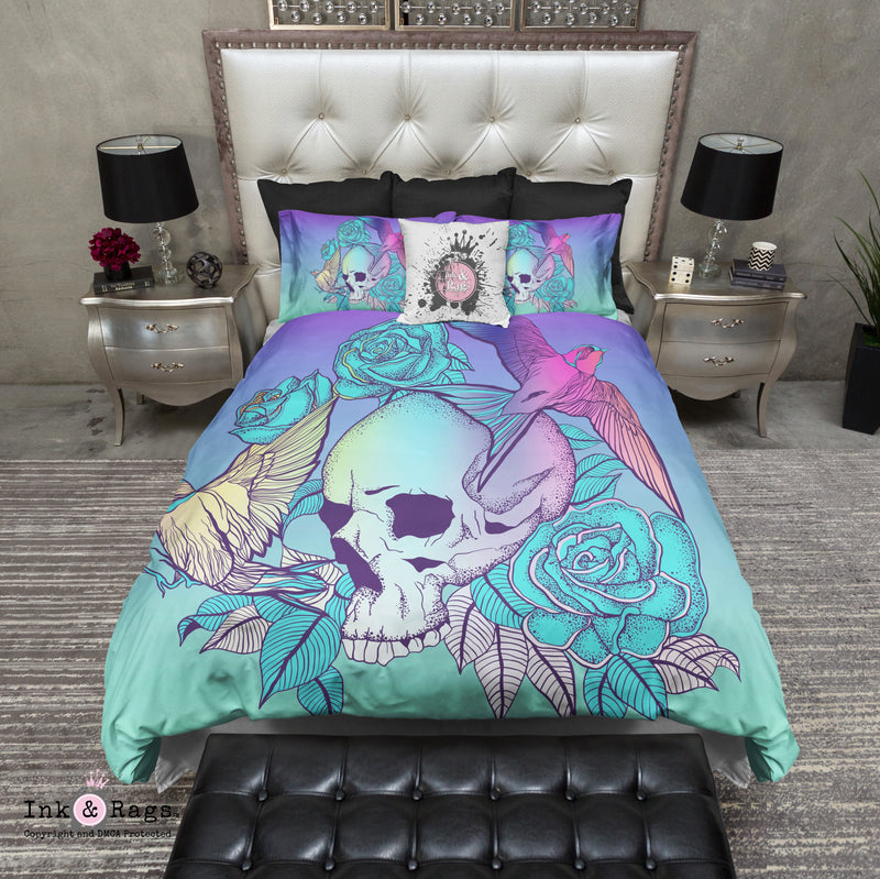 Purple Turquoise Ombre Skull Rose and Swallows Bedding