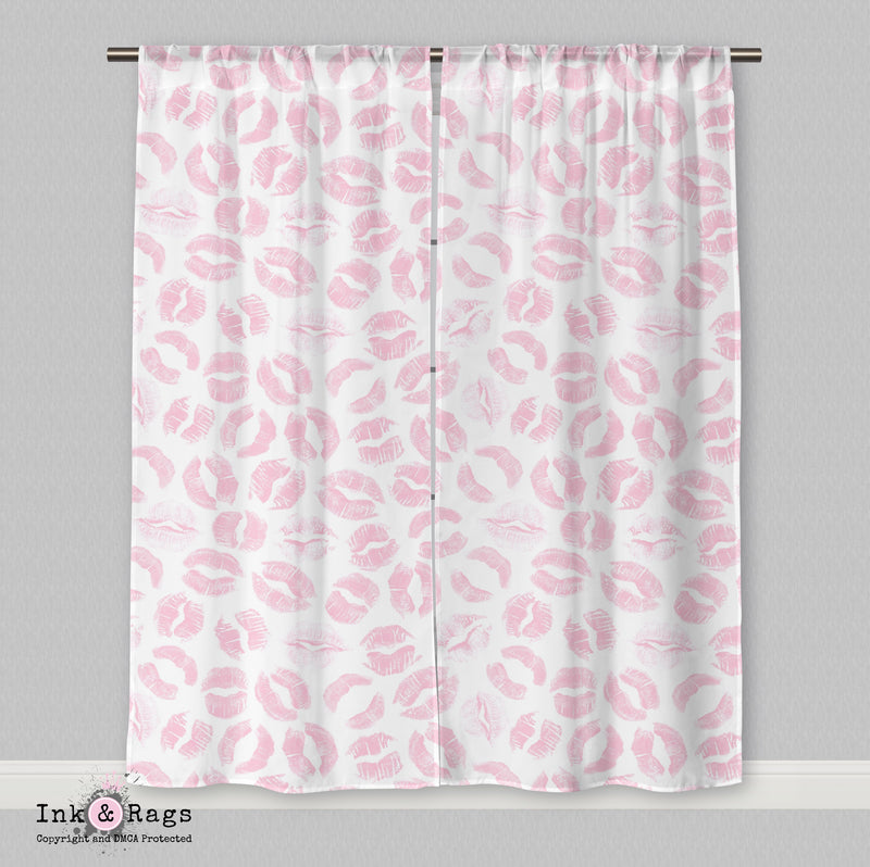Pink Kiss Lip Print Curtains or Sheers