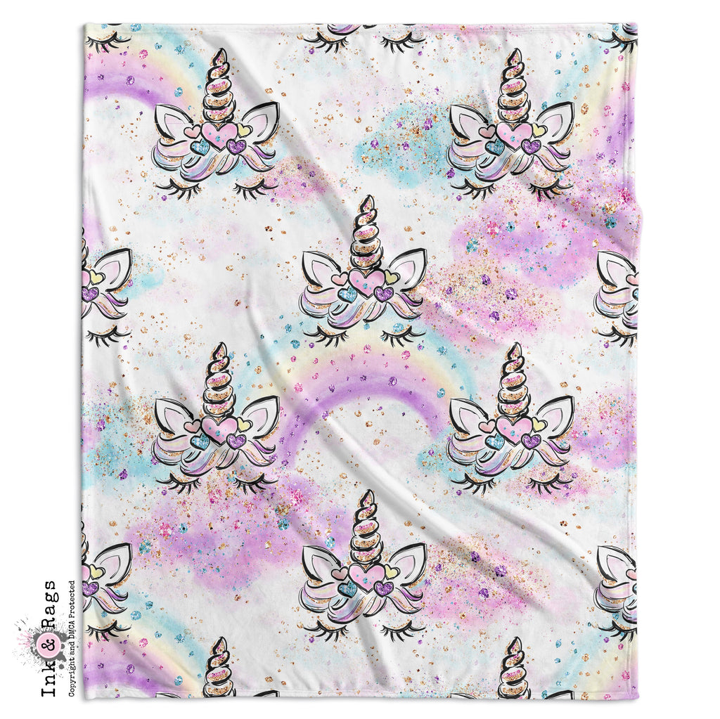 Unicorn Faces and Rainbows Crib and Toddler Bedding Collection