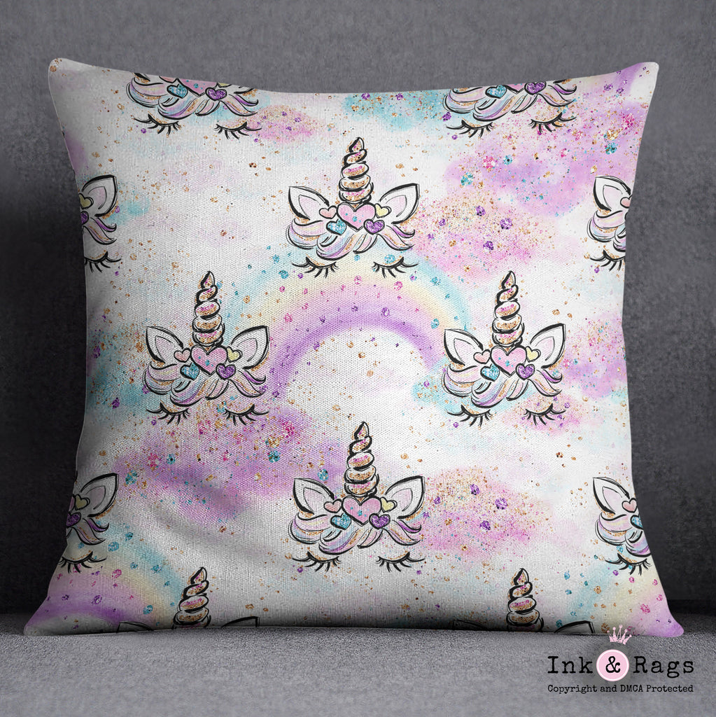 Unicorn Faces and Rainbows Throw Pillow