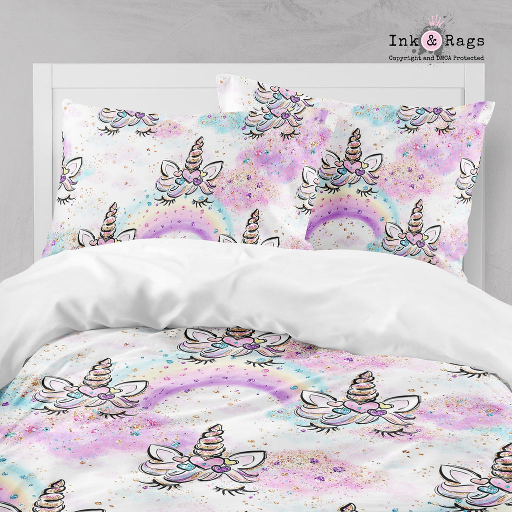 Unicorn Faces and Rainbows Big Kids Bedding
