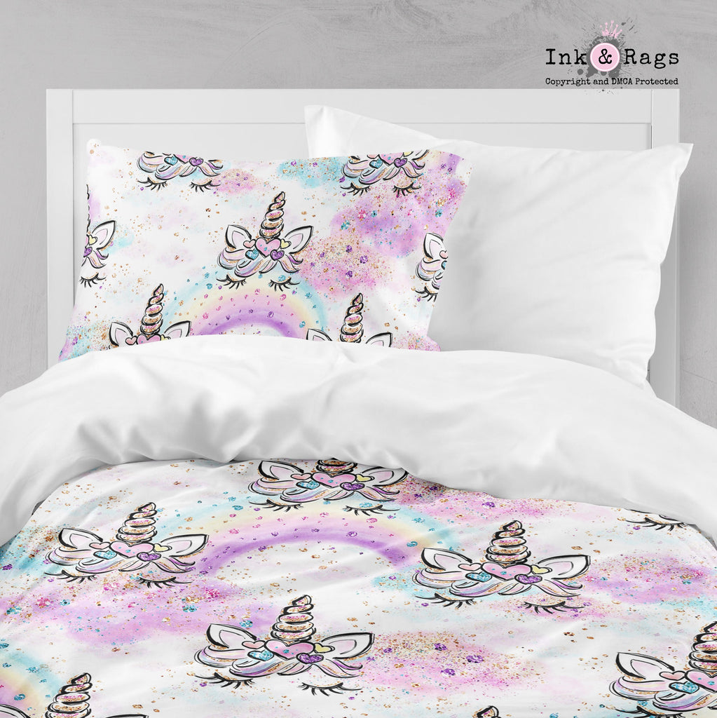 Unicorn Faces and Rainbows Crib and Toddler Bedding