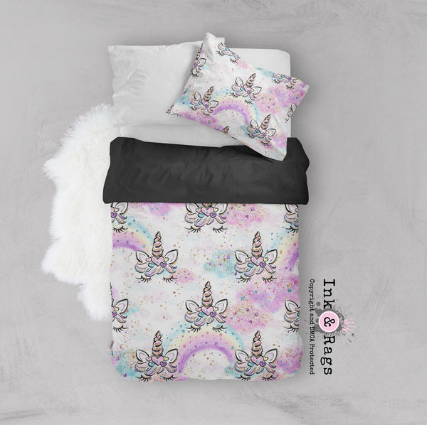 Unicorn Faces and Rainbows Crib and Toddler Size Comforter Sets