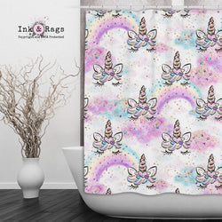 Unicorn Faces and Rainbows Shower Curtains and Bath Mats