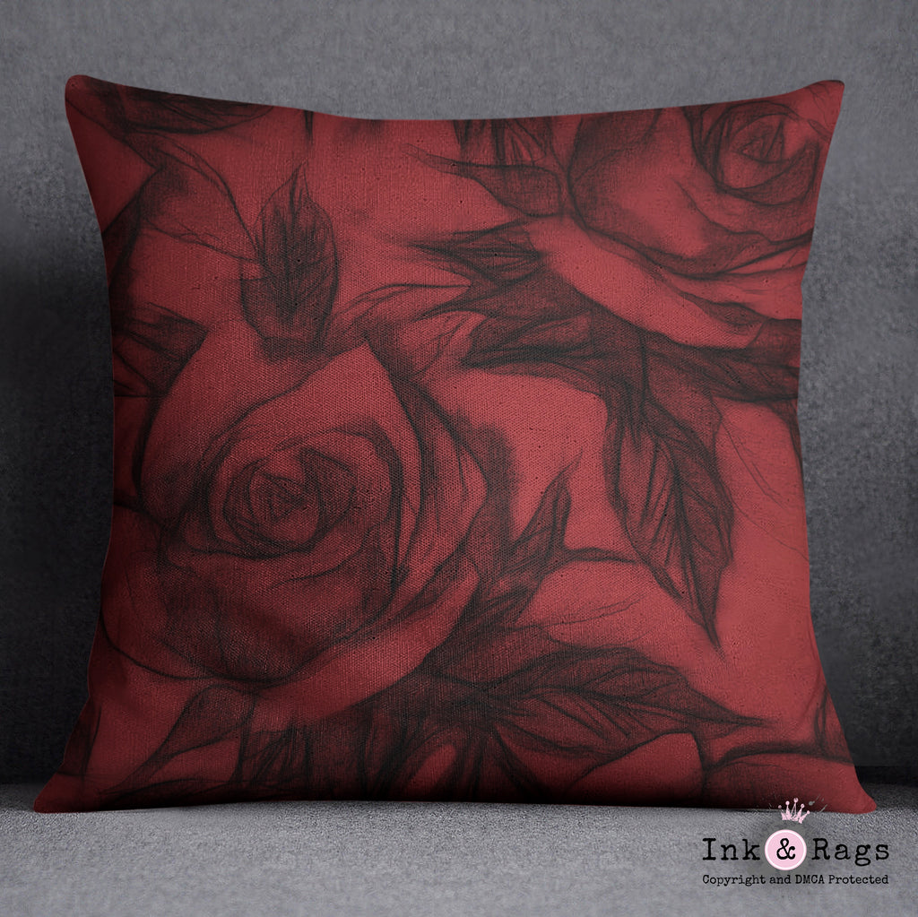 Red and Black Pencil Sketch Rose Throw Pillow
