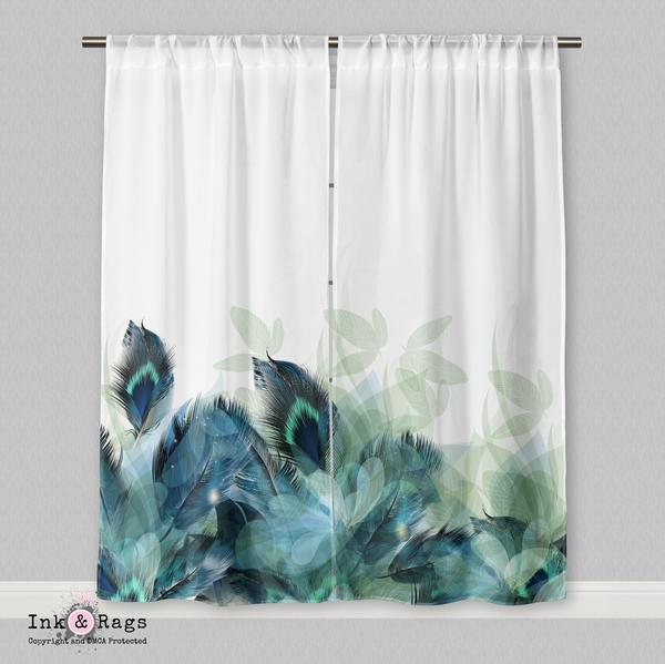 IN STOCK SAMPLE PEACOCK FEATHER AND LEAF MOTIF CURTAINS - 70 x 84 BLACKOUT