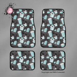SAMPLE Coffee and Macaroons Breakfast at Tiffany Set of 4 Car Mats