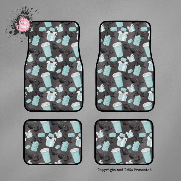 SAMPLE Coffee and Macarons Breakfast at Tiffany Set of 4 Car Mats
