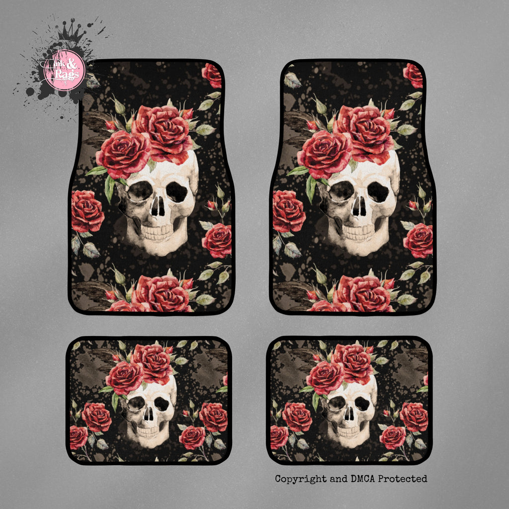 Antique Rose and Skull Car Mats