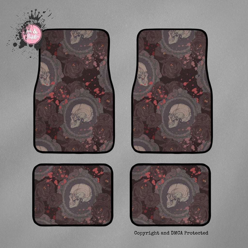 Cameo Skull and Dark Rose Car Mats