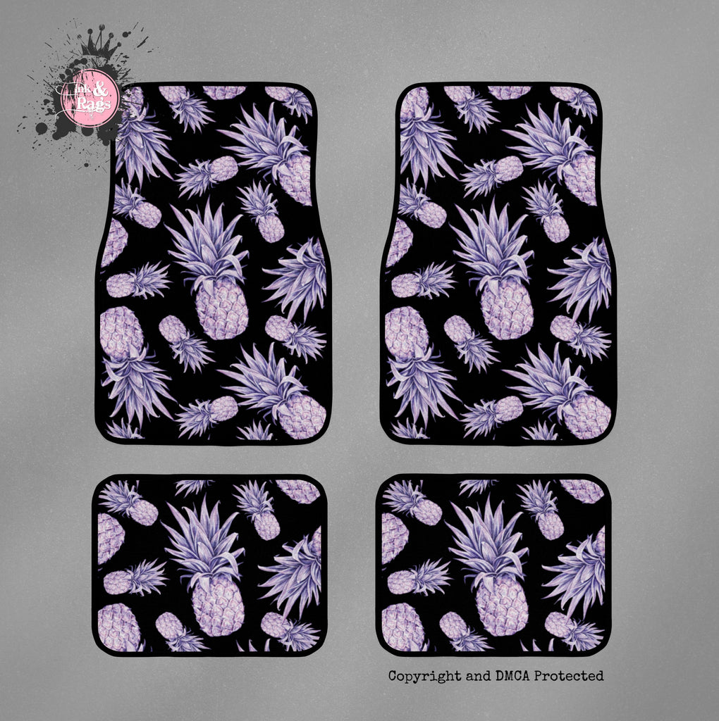 Purple Pineapple on Black Car Mats