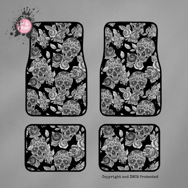 Signature Black Sugar Skull Car Mats