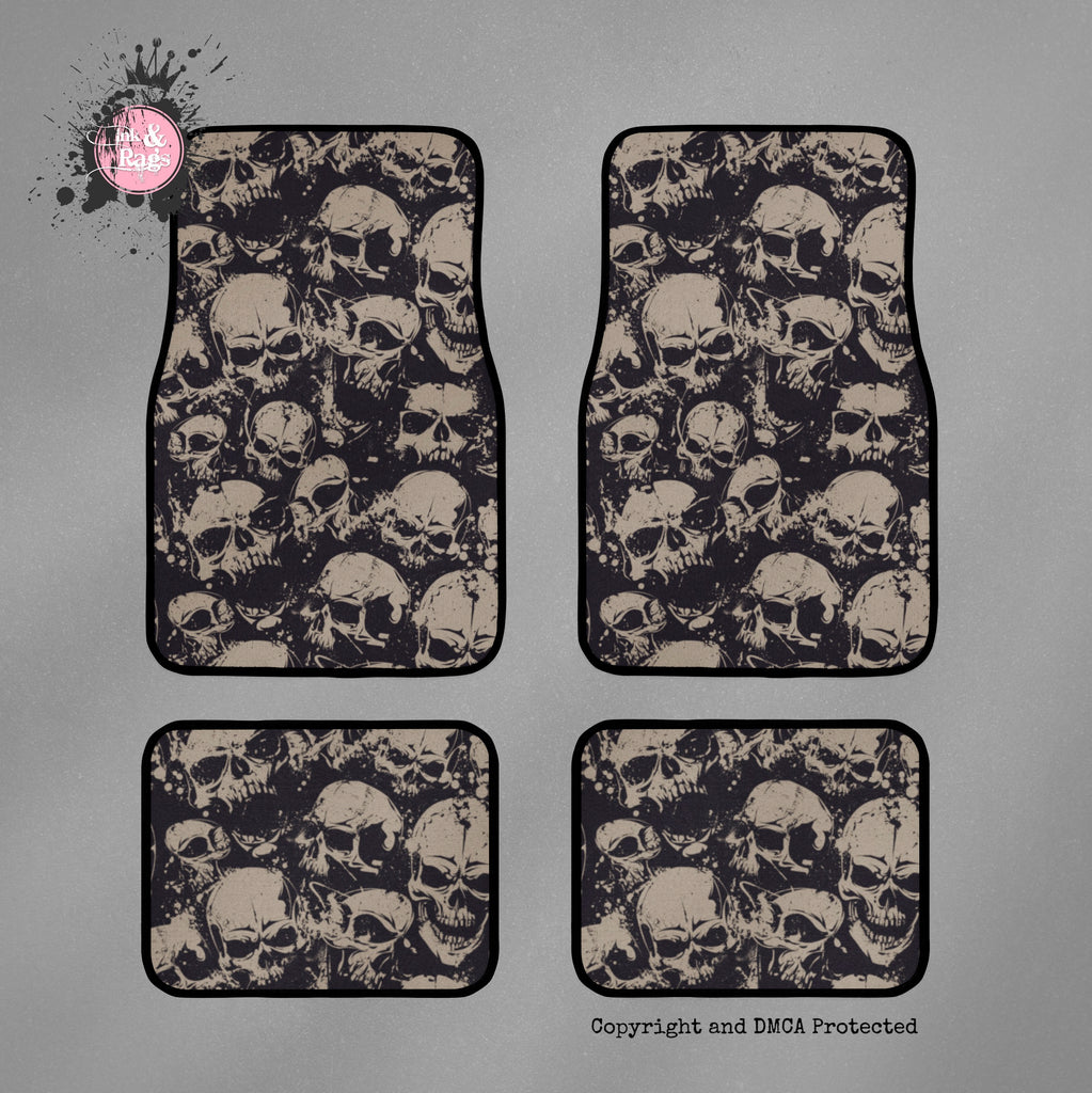 Black and Tan Grunge Skull Car Mats