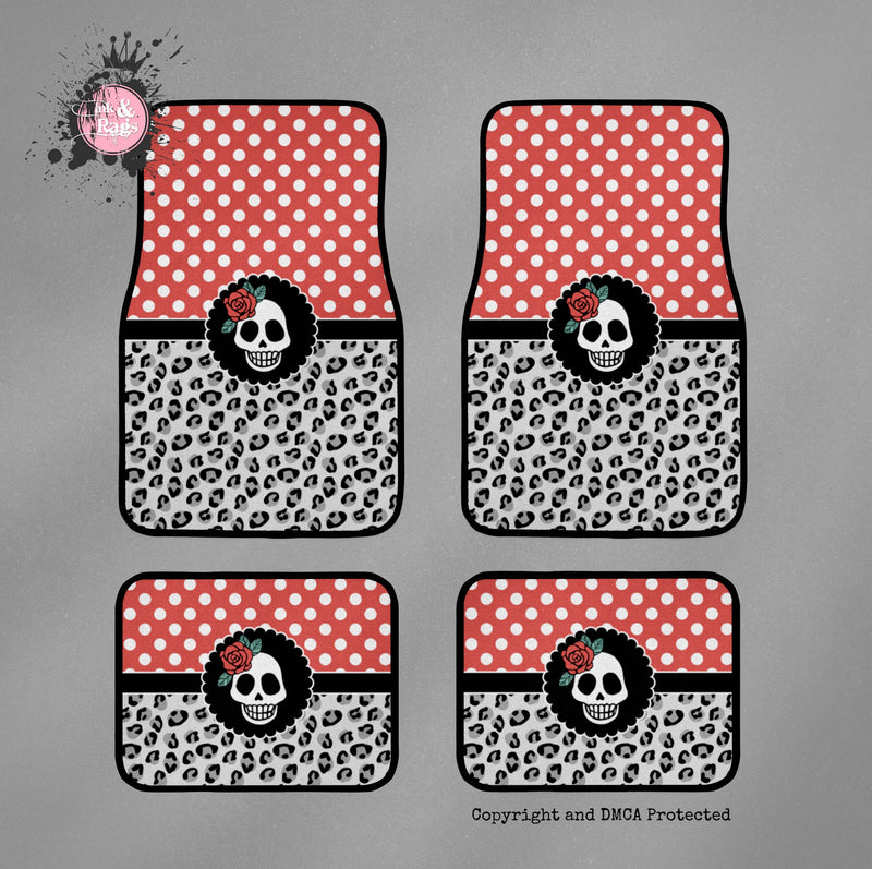 Rockabilly Polka Dot Leopard Skull Car Mats