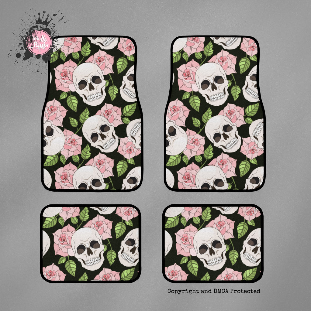 Pink Rose and Skull Car Mats
