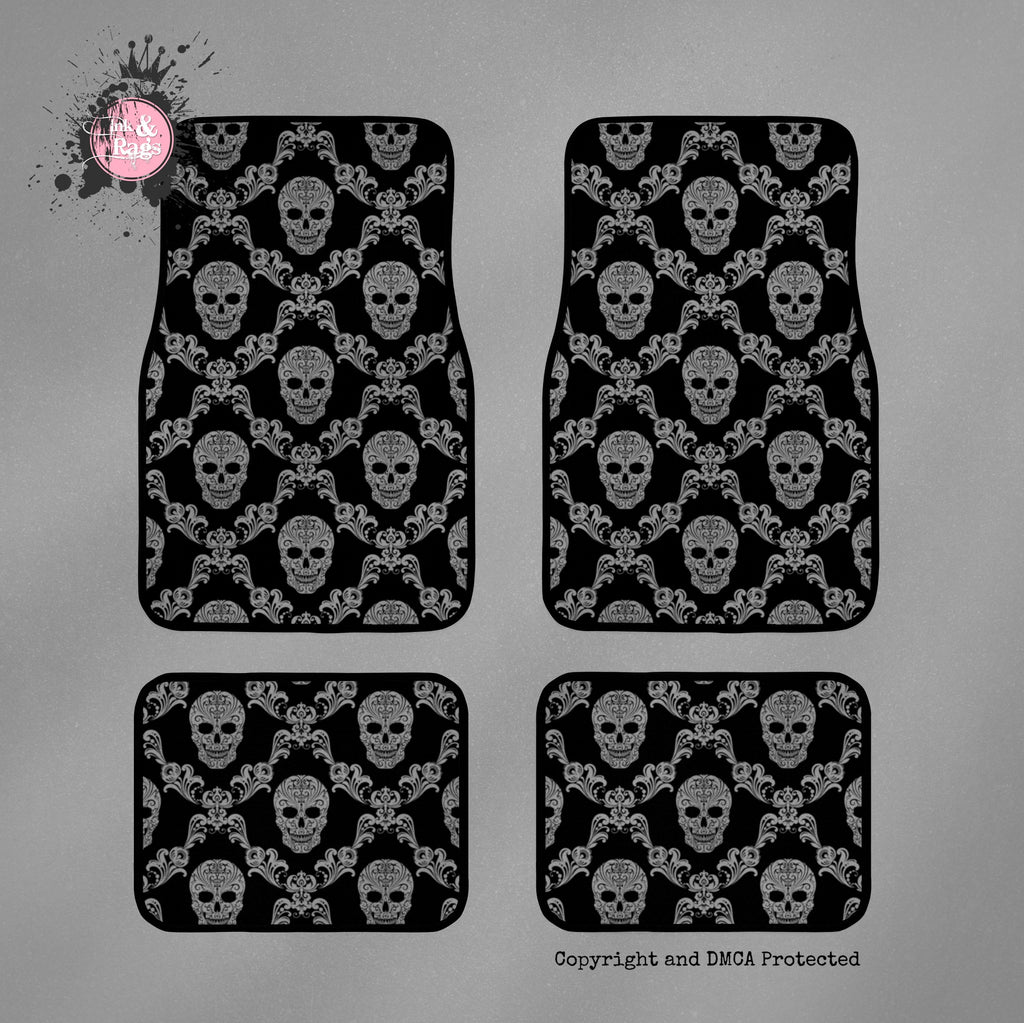Black and Grey Damask Skull Car Mats