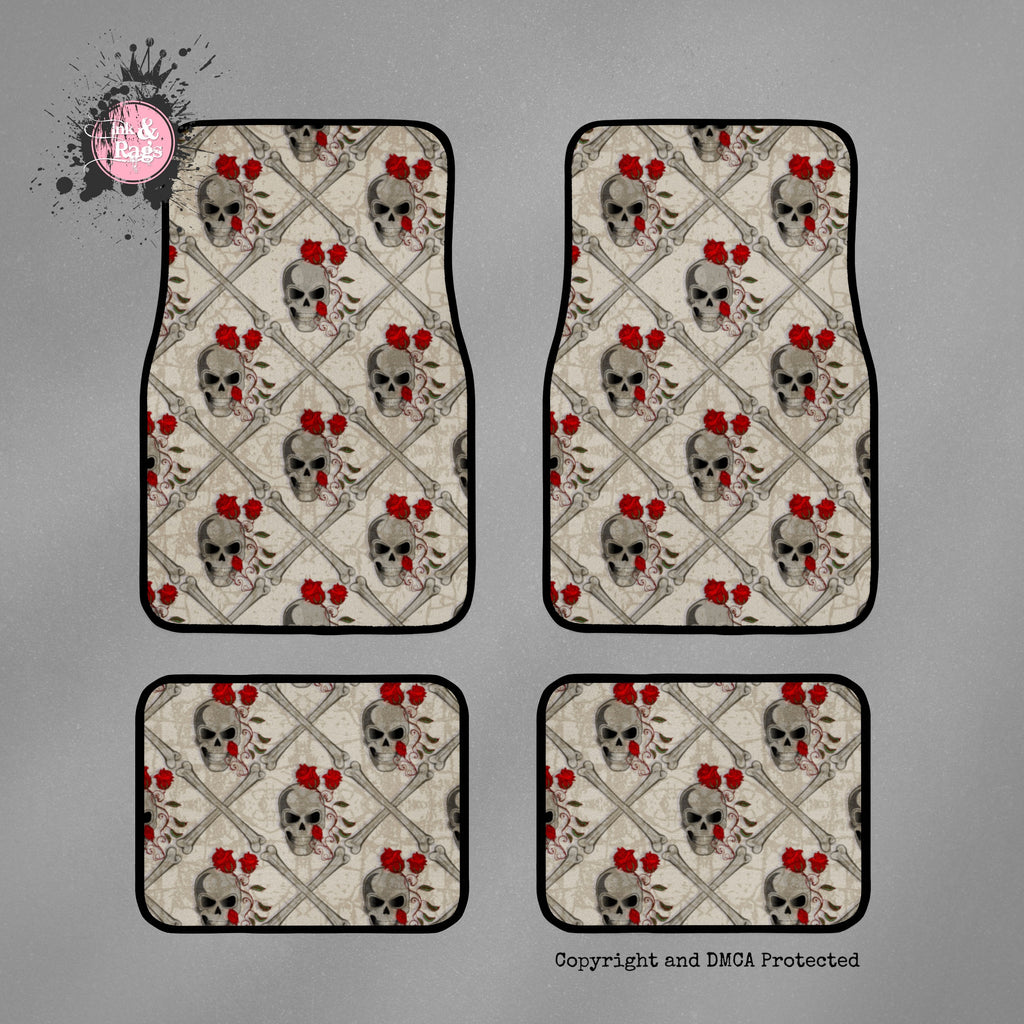 Red Rose and Skull and Crossbone Car Mats