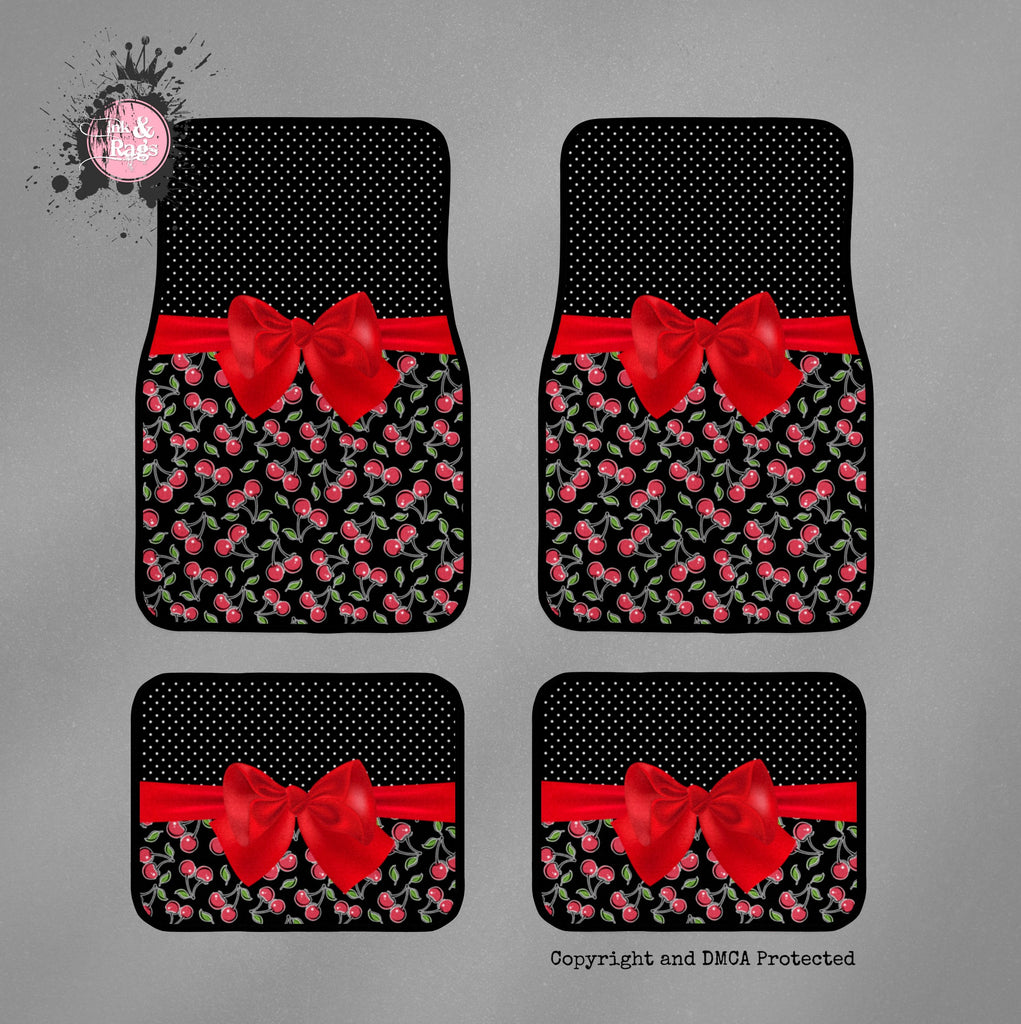 Rockabilly Pin Dot and Cherries Car Mats