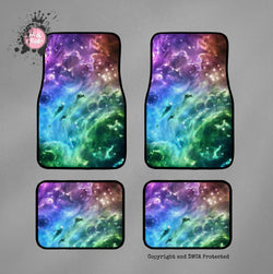 Purple Blue and Green Galaxy Car Mats