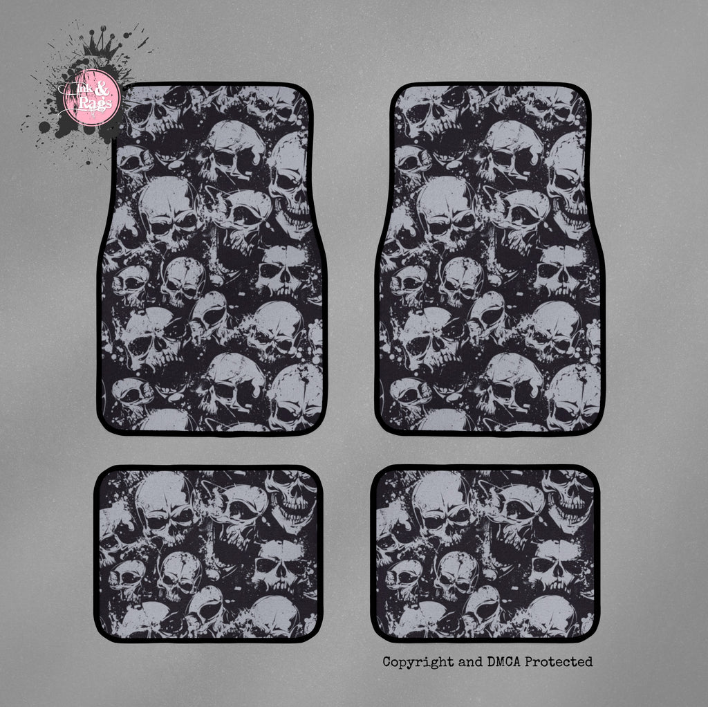 Black and Grey Grunge Skull Car Mats