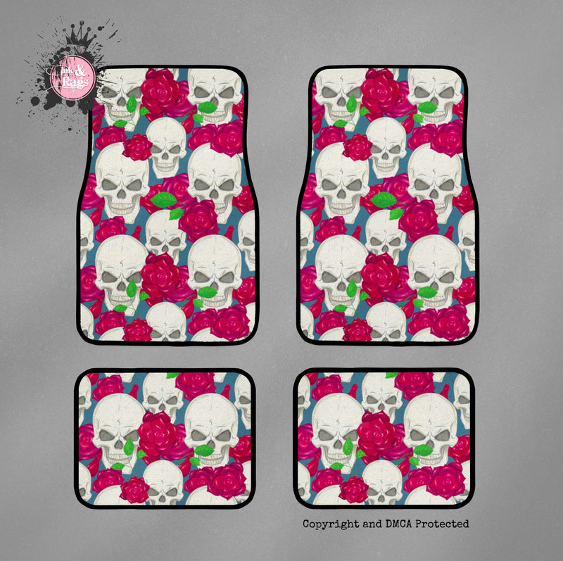 Red Rose and Skull Car Mats