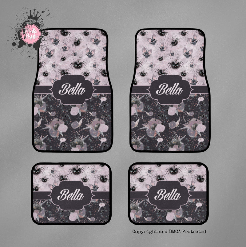 Little Bat and Spider Friends Personalized Car Mats
