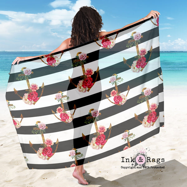 Large Sheer Watercolor Anchor Stripe Scarf, Sarong, Shawl