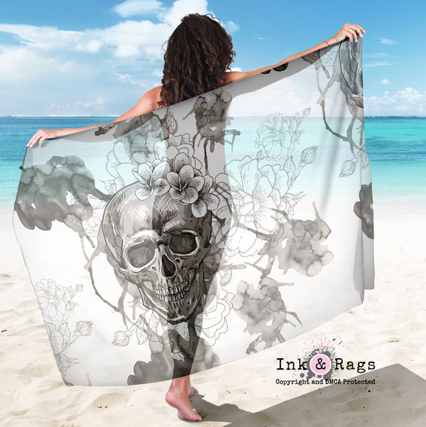 Large Sheer Watercolor Skull Scarf, Sarong, Shawl