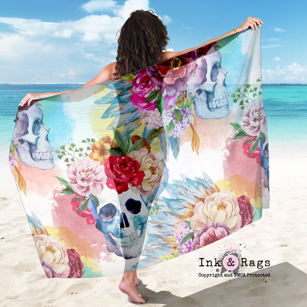 Large Sheer Colorful Large Print Bohemian Skull and Flower Scarf, Sarong, Shawl