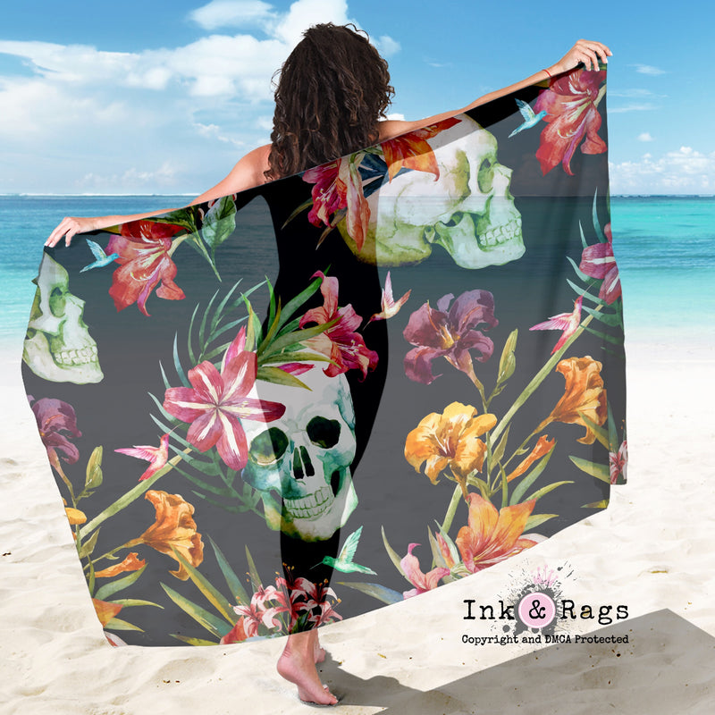 Large Sheer Tropical Lily Skull Scarf, Sarong, Shawl