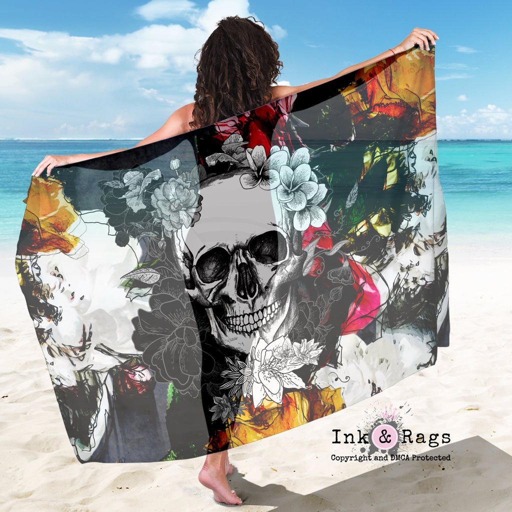 Large Sheer Abstract Colorful Flower Skull Scarf, Sarong, Shawl